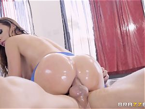 mischievous oiled up Nikki Benz thrashed in her caboose