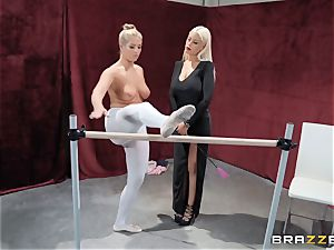 lesbians Bridgette B and Val Dodds strong pussy eating after ballet
