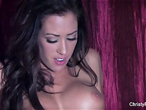 big-boobed babes Christy and Capri pummel on the bed