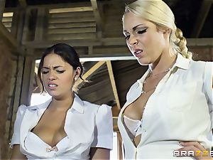 crazy lesbos Ava Dalush and Victoria Summer drill the constant boy