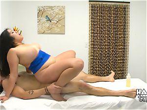 Hidden camera massage bed fuckfest