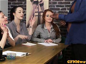 casting CFNM damsel agent jacking black man rod