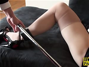 big-boobed brit sub pussyfucked while strapped