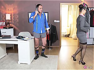 gigantic boobed chinese tailor fulfills her client gentle wishes