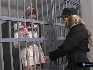 Nathasa Brill and Goldie Divine lesbo jail orgy
