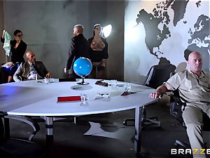 large titted Peta Jensen banged across the boardroom table