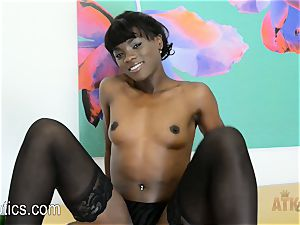 Ana Foxxx unclothes down and strokes