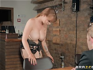 Danny inserting his massive pecker into steaming ginger-haired