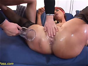 well-lubed plump milf gets buttfuck pumped