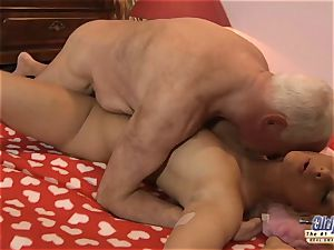 grandfather penetrates nubile fantastic nympho She gulps jizz