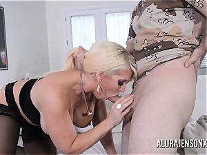huge-boobed blonde Alura Jenson enjoys a guy in uniform