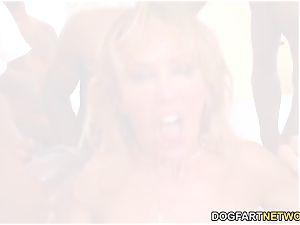 Cherie DeVille Gives blowage To A gang Of black stud