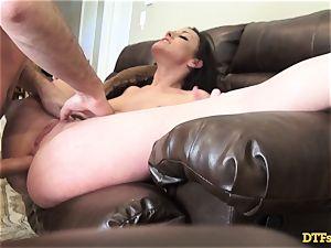Jennifer white sits her cunt on James Deens humungous lollipop