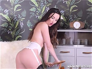 dark haired taunts in nylons heels peels off for you to masturbate