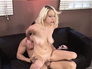 Randy Kissy Kapri rides her pussy on this humungous pipe