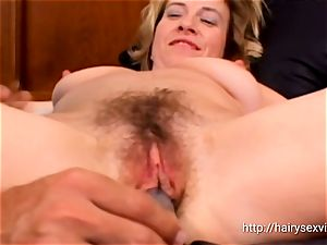 Mature light-haired gets her unshaved slit nailed