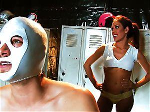 buxom black-haired Capri romps an aspiring luchador