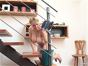 big-boobed housewife Lucy Rose cleaning