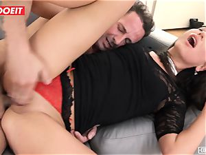LETSDOEIT - brown-haired nubile fucked in Both holes casting