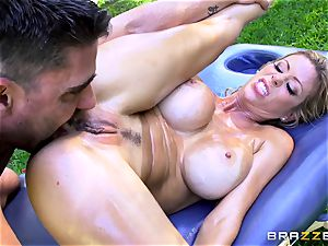 Alexis Fawx getting an outdoor plow and rubdown