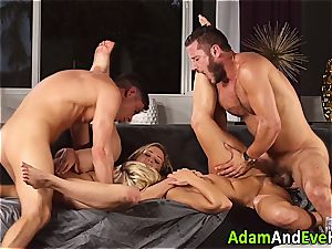 glamour couple and jizz swap with super-hot blondes