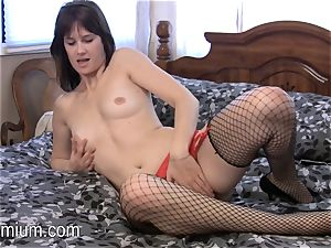 Miranda plays with her hairy tiny cunt