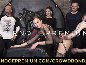 CROWD bondage - extraordinary domination & submission pound wheel with Tina Kay