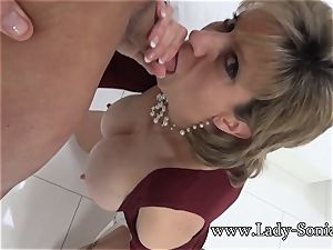 damsel Sonia Mature stunner greased Up And throating pink cigar