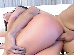 dark haired Britney Amber gets an sudden salami filling