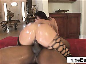 huge jug black-haired Sophie Dee has bi-racial fun