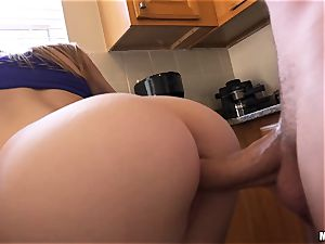 Lily Rader caught dancing in the kitchen and the inserted in her cunt with rock-hard spunk-pump