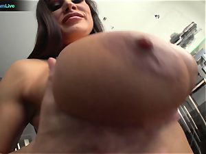 Lisa Ann in tights always a devotee of yam-sized penises