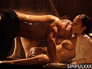 drilling a big-chested nice while the water drips down her fragile flesh