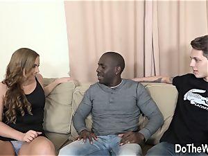 wifey Chrissy takes bbc anally while husband licks cum
