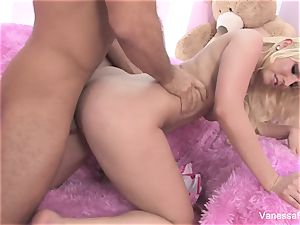 Interview and smashing with light-haired hottie Vanessa cage