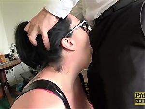 enormous curvaceous female face fucked and predominated by giant man rod