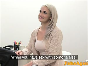 fake Agent hot blondie model likes cock over the desk