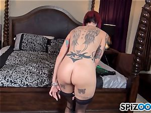 Anna Bell Peaks munches on humungous rod and gets a jizm explosion on her breasts