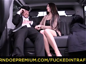 pulverized IN TRAFFIC - German babe drilled by taxi driver