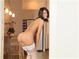 Alexis Brill masturbates in her warm milky pantyhose