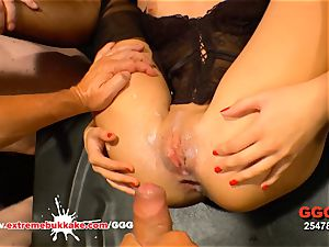Julie Skyhigh coated in man gravy - extreme mass ejaculation