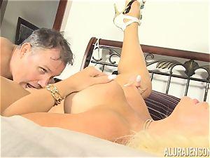 Lusty ash-blonde beauty Alura Jenson fuckbox thrashed by the gardener