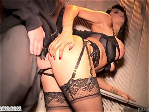 Romi Rain - amazing red-hot fledgling pornography in the street