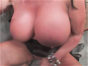 chesty tramp Kerry Louise gets inserted rigid and earns a fat flow of scorching jizm