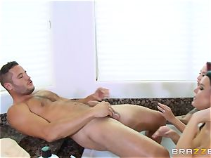 Maid Peta Jensen washes the honeypot of Monique Alexander and gets cooch thrashed by Danny Mountain