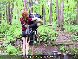smallish sandy-haired banged in the forest