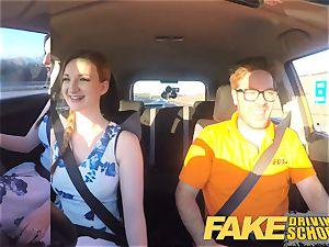 fake Driving school Nerdy sandy-haired teen schoolgirl