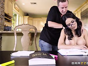 youthfull wise schoolgirl wants to learn lessons and get penetrated by her stepbrother