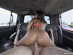 fabulous brunette picked up by the BangBus