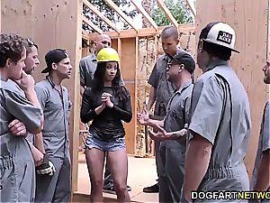 stellar dark-hued gangbanged by construction workers